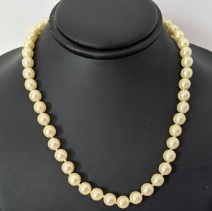 Vintage Gold Tone Avon Faux Yellow Pearl Necklace